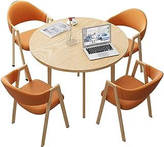 Silla combinada Silla de Cocina de Patas de Madera,Balcón Recepción Reunión de Negocios Negociar Mesas y Sillas Combinación Conjunto de 5 Piezas (Color : Orange)