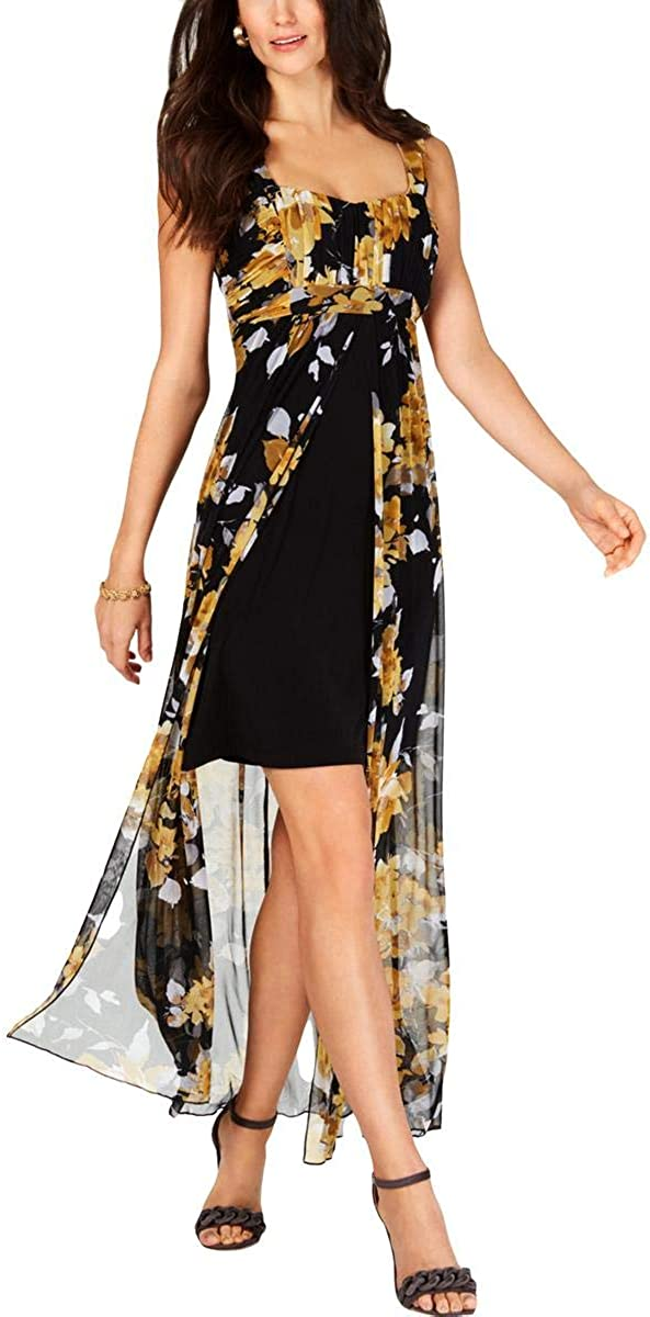 Connected Apparel Womens Yellow Floral Sleeveless Square Neck Tea-Length Hi-Lo Cocktail Dress Size 10