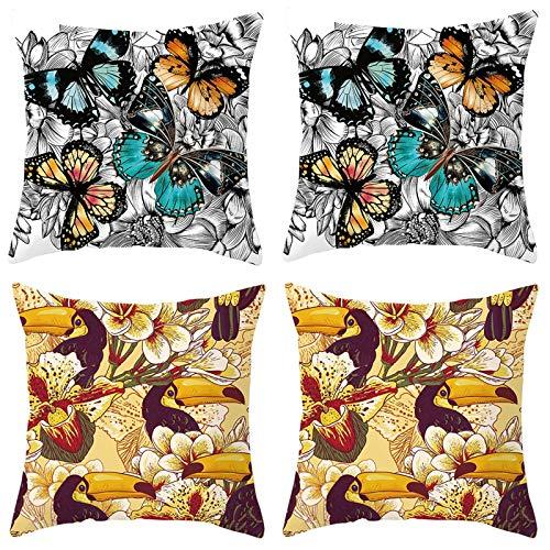 Amody 4 Piezas Funda de Cojines para Sofa, Fundas Cojines 40x40cm Patrón de Flor de Pájaro Carpintero de Mariposa Funda de Almohada para Sala de Estar Coche Jardín Set 9
