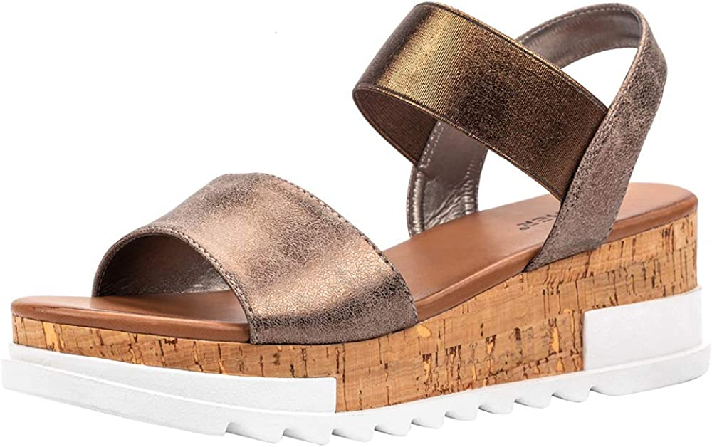 Women's Open Toe Elastic Strap Casual Cork Summer Platform Wedge San Diego Mall Safety and trust