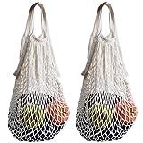 STONCEL Pack of 2 Cotton Net Shopping Tote Ecology Market String Bag Organizer (White)