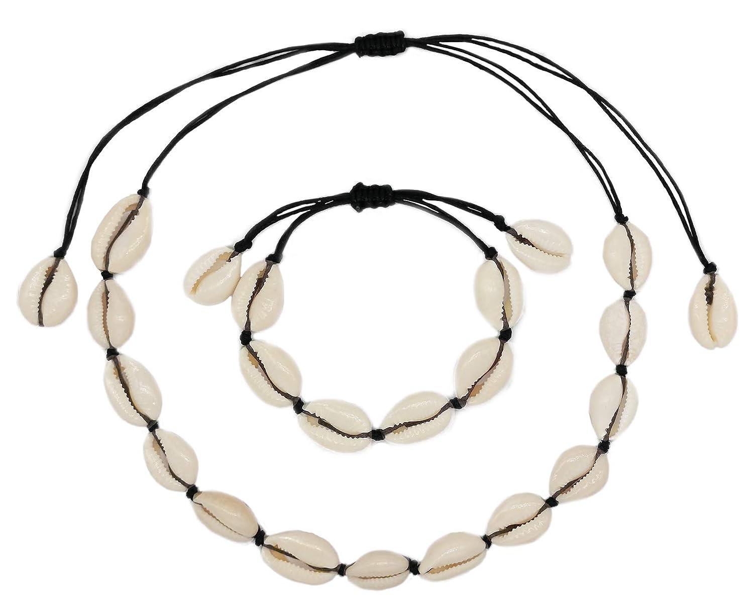 LOHZAQ Natural Sea Shell Beads Handmade Hawaii Wakiki Beach Choker Necklace Adjustable Bracelet Anklet for Girls Ladies