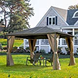 Outdoor Hardtop Gazebo(2021 New)- Galvanized Steel roof,Gazebo for Patio with Canopy Privacy Curtains and Netting ,Outdoor Gazebo (Lucia 10'x12') Aluminum Frame by domi outdoor living