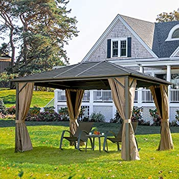 Outdoor Hardtop Gazebo(2021 New)- Galvanized Steel roof,Gazebo for Patio with Canopy Privacy Curtains and Netting ,Outdoor Gazebo  Lucia 10 x12   Aluminum Frame by domi outdoor living