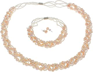 TreasureBay Elegant Natural Pink Freshwater Pearl Jewelry Set Necklace, Bracelet & Earrings With Magnetic Clasps