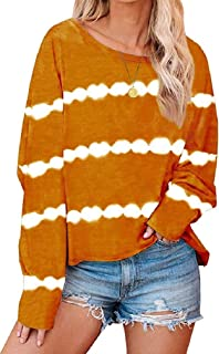 S-Fly Women's Tie Dye Casual Round Neck Stripe Long Sleeve Loose T Shirts