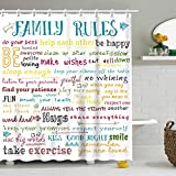 Stacy Fay Family Rules - Cortina de ducha educativa, diseño de texto para niños y niñas con texto 'Love Happiness Encouraging Sing', 183 x 183 cm, lavable a máquina