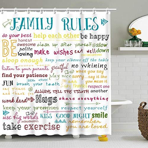 "Stacy Fay Family Rules - Cortina de ducha educativa, diseño de texto para niños y niñas con texto ""Love Happiness Encouraging Sing"", 183 x 183 cm, lavable a máquina"