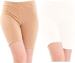 Pixie Biowashed 220 GSM Cotton Lycra Cycling Shorts for Girls/Women/Ladies Combo (Pack of 2) Beige and White - Free Size