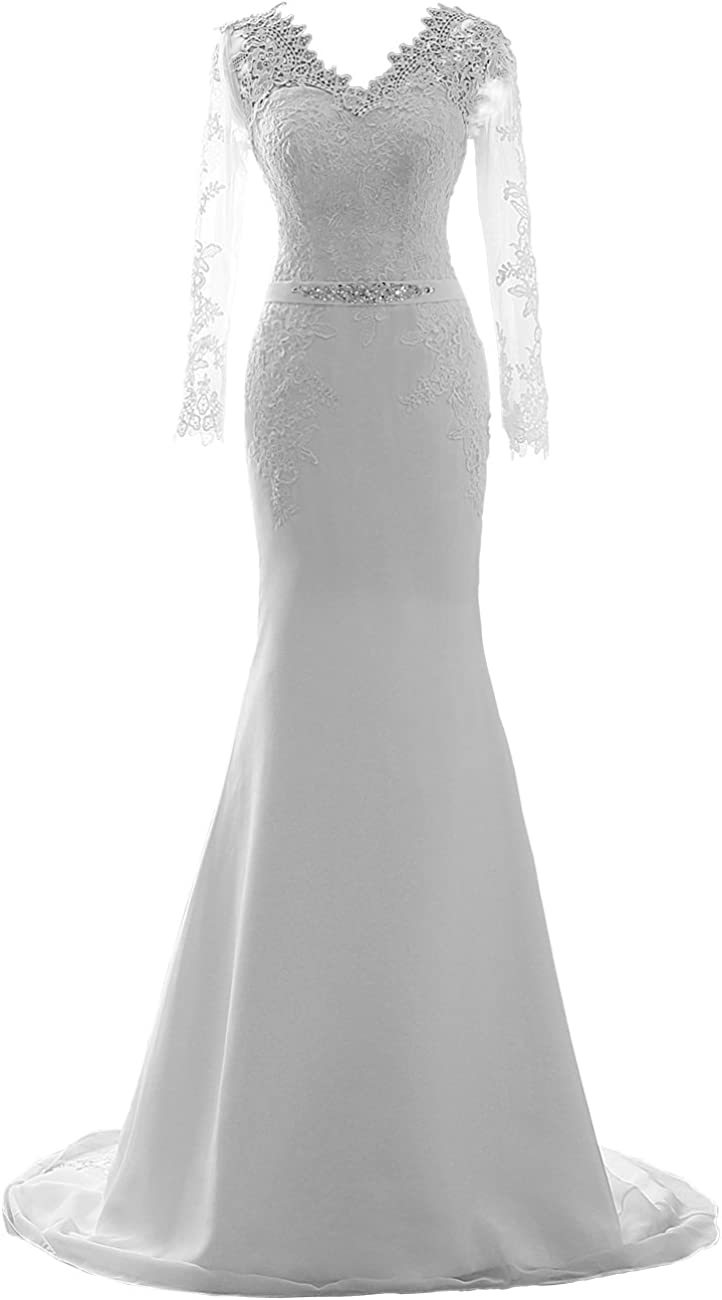Wedding Dress for Bride Long Sleeves Mermaid Bridal Gown Lace Bride Dress Wedding Gowns with Belt