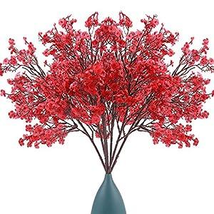 Bosslandy Babys Breath Fabric Cloth Artificial Flowers Gypsophila 7 Bundle European Fake Silk Real Touch Bouquet of Flowers for Wedding Faux Dried Baby's Breath Silk Real Touch for Home Party (Red)