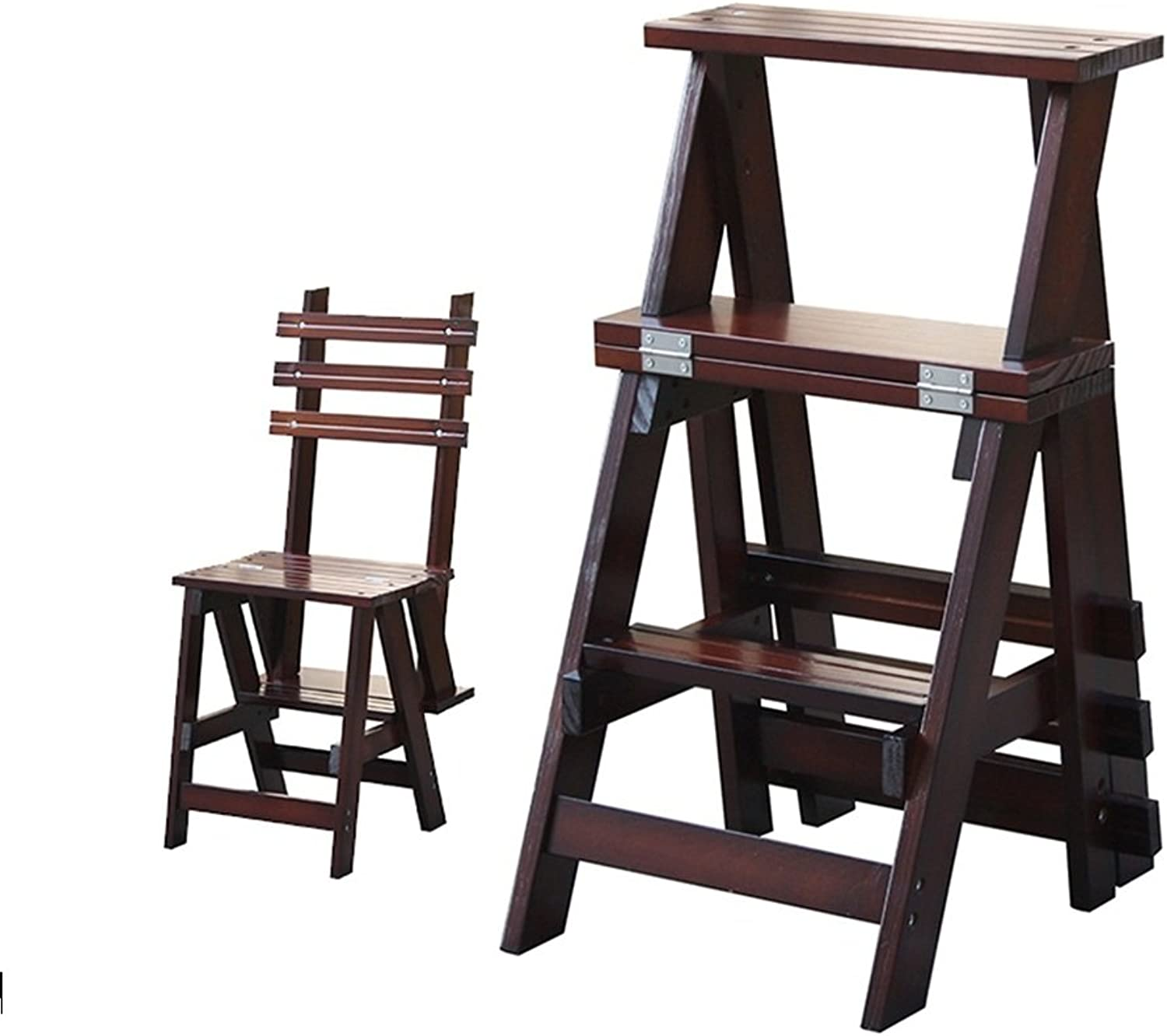 Fashion Solid Wood Folding Chair Multifunction Stepladder Stairway Chair with 3 Steps for Home 344468.5CM Folding Chairs Indoor (color   B)
