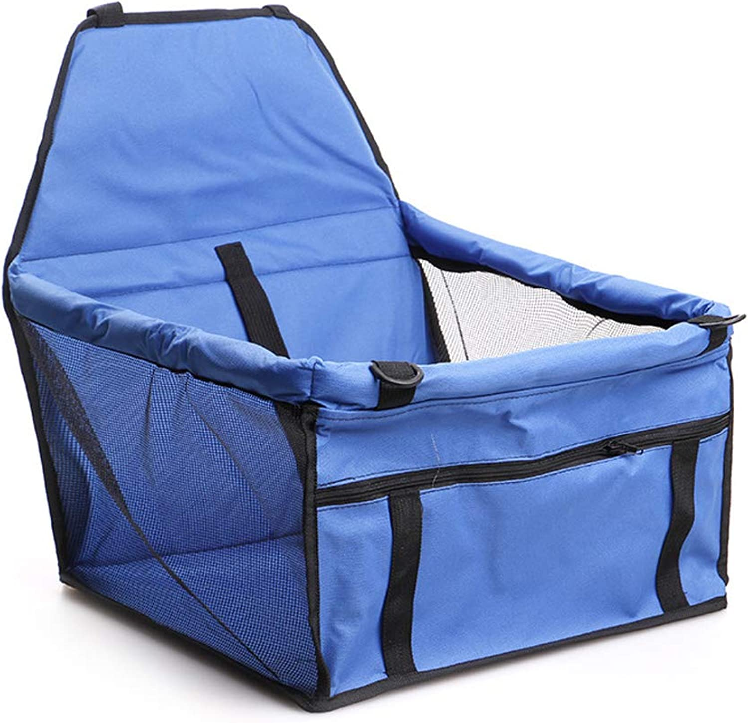 Easy Folding Dog Cat Puppy Pet Car Booster Seat Travel Carrier Bag Cage Deluxe Portable with Clipon Safety Leash (bluee)