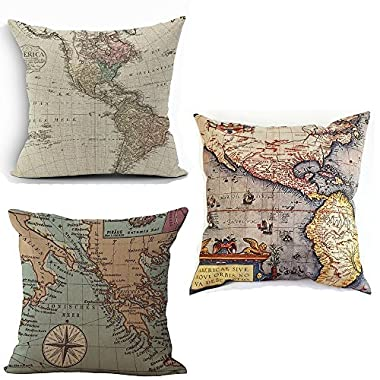 Wonder4 Map Art Throw Pillow Covers Cotton Linen Square Decorative Geography Theme Throw Pillow Cases Couch Covers 18  x 18  Set of 3