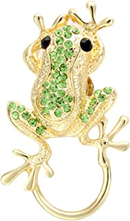 Green Crystal Smart Jumping Frog Eyeglass Sunglass Holder Strong Magnetic Animal Brooch Pin