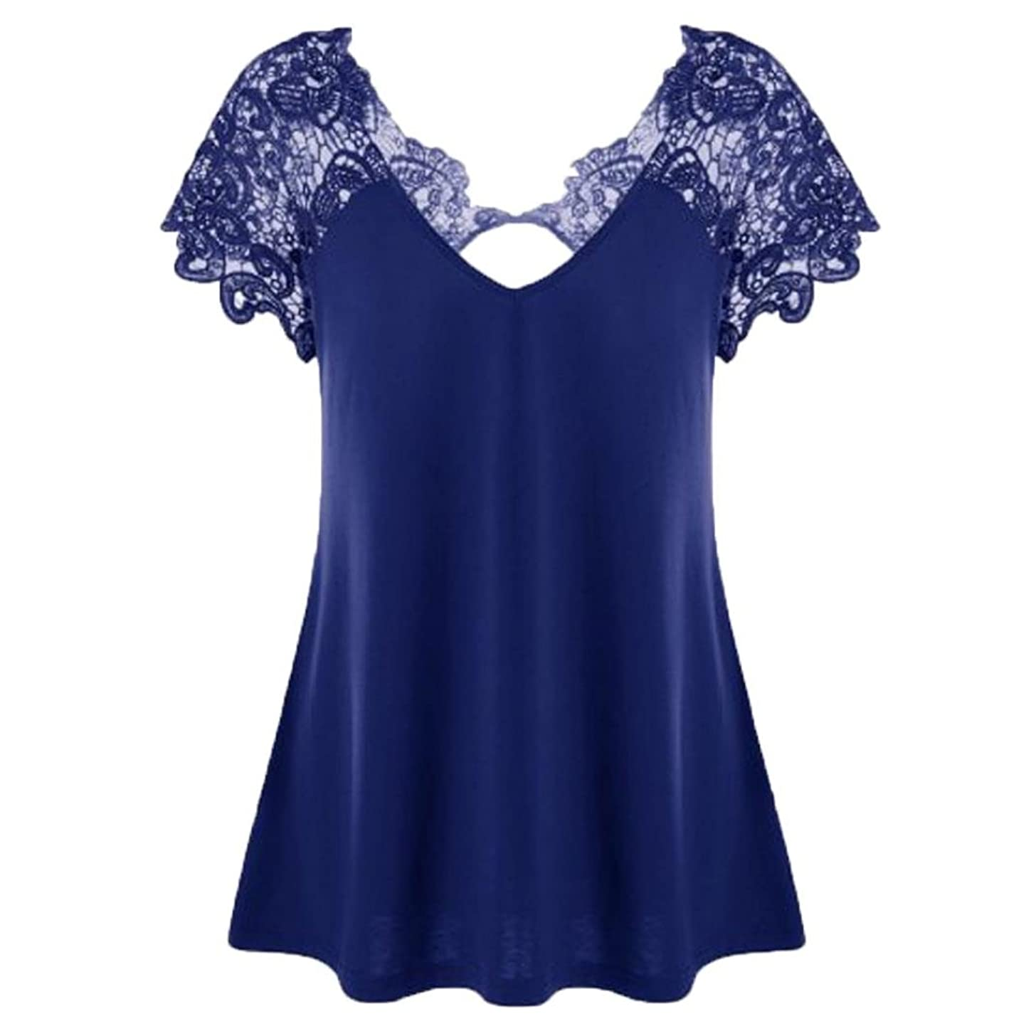 ????Egmy ?? Clearance ?? Fashion Women V-Neck Plus Size Lace Short Sleeve Trim Cutwork T-Shirt Tops (3XL, Blue)