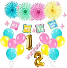 Easy Joy It's My 1/2 Birthday Party Decoration Half Year Old Banner Tissue Paper Fans Latex Balloons for Baby Shower Birthday High Chair Decoration, Multi Color