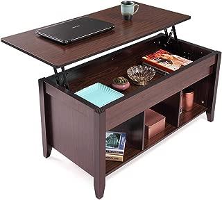 Modern Wood Lift-Top Coffee Table, Living Room Office w/Hidden Storage, Lift Tabletop-Black Walnut