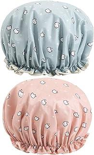 Amosfun Boné de banho de camada dupla estampado impermeável chapéu de banho de espuma vinílica acetinada bonés de beleza p...