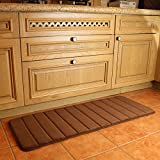KMAT 47' x 17' Long Anti-Fatigue Memory Foam Kitchen Mats Bathroom Rugs Extra Soft Non-Slip Water Resistant Rubber Back Anti-Slip Runner Area Rug for Kitchen and Bathroom Brown