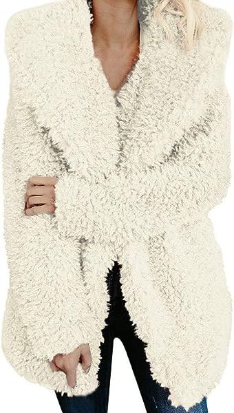 Women S Faux Fleece Jackets Lapel Fuzzy Winter Warm Jacket Outerwear Cardigan Long Trench Coat Windbreaker
