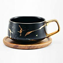 Tilany Tea Cup with Wooden Saucer Set - Ceramic Beverage Holder for Coffee, Latte, Cappuccino - Gold Inlay, Marble Print, ...