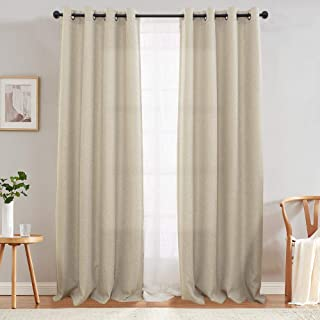 jinchan Curtains 84 inch Linen Textured Room Darkening Window Curtains Bedroom Window Curtain Set Living Room Drapes Greyi...