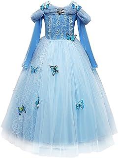 OBEEII Cinderella Kostüm Kinder Aschenputtel Prinzessin Kleid Mädchen Verkleidung Karneval Faschingskostüm Cosplay Party Halloween Festkleid 3-9 Jahre