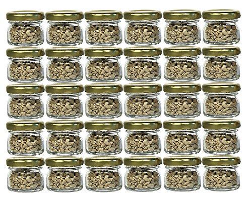 30er Set Sturzgläser Mini Gläser | Füllmenge 30 ml | Deckelfarbe Gold | To 43 Rundgläser Marmeladengläser Obstgläser Einweckgläser Honig Gläser Einmachgläser Portionsgläser Probiergläser Imker