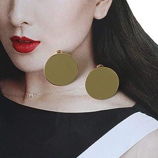 VPbao 1 Pair Simple Geometric Round Glossy Ear Stud Circle Earrings for Women Set