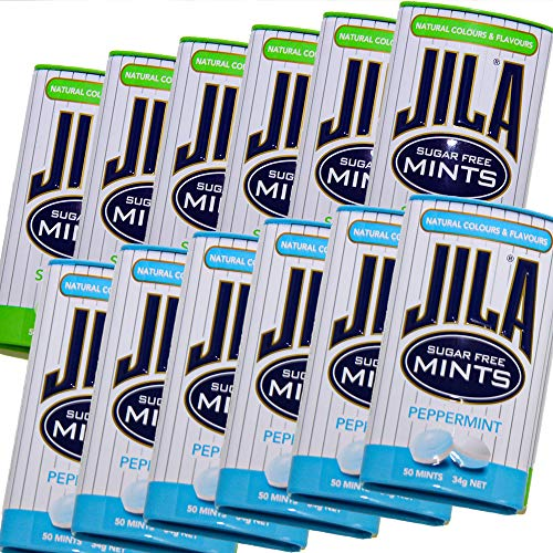 ジラ JILA ミントタブレット スペアミントとペパーミント 各34g 2種類 12缶セット 送料無料 少し大きめ粒 海外