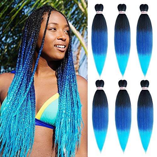 Pre stretched Braiding Hair Ombre Blue Hair Extensions Long Braid 30inch 6 Packs Synthetic EZY Braids Hair for Braiding Hair Easy Braid Yaki Hair(30inch,1b/blue/Light blue#)