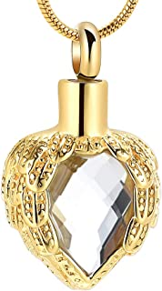 Gold Angel Wings Glass Heart Urn Pet/Human Cremation Pendant Necklace Jewelry for Ashes