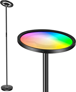 Wixann Smart Led Floor Lamp - چراغ طبقه WiFi Torchiere با الکسا Google Home ، 2000LM Super Bright Dimmable Color Lighting Standing Light Modern Standing for اتاق نشیمن دفاتر اتاق خواب - مشکی