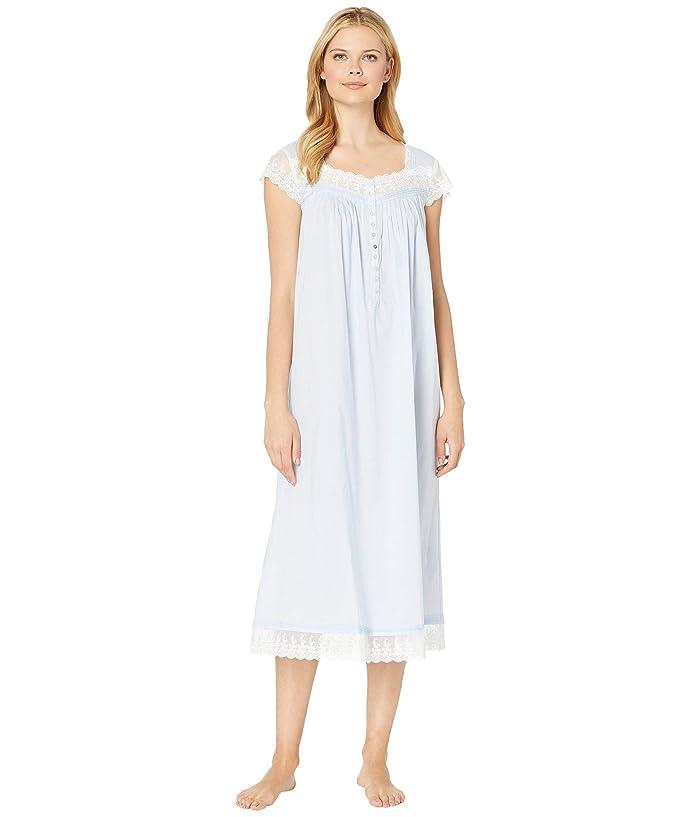 Eileen West Cotton Woven Lawn Ballet Cap Sleeve Nightgown (Solid Light Perri) Women
