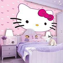 XDWC Auto-Adhesivo Papel Pintado Pared Lovely Kitty Cat Wallpaper Custom Photo Wallpaper Cartoon Wall Mural Pink Girl'S Room Habitación Impermeable Art Room Decor Dormitorio,46773J(W)400x(H)280cm
