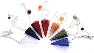 Healing Crystals India Natural Gemstone 7 Chakra Dowsing Pendulums 7 pcs Mix - Free E-book about Crystals India 135page