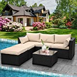 Outdoor PE Wicker Sofa Set 4-Piece 6-Seater Patio Garden Sectional Khaki Cushions Seat Furniture Set, 2 L-Shaped Loveseats and Ottomans, Multi-Purpose Tempered Glass Coffee Table, Black Rattan -  Rattaner