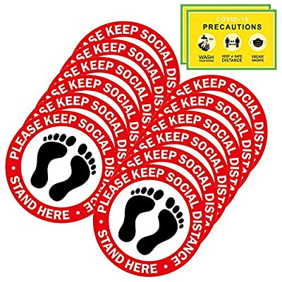 Social Distancing Floor Decals - 12 Pack Safety...
