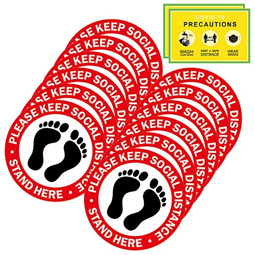 Social Distancing Floor Decals - 12 Pack Safety Floor Signs - 12' Round Slip Removable Stickers - Please Keep 6 Feet Apart - Waterproof Adhesive Anti - Slip Lamination Easy to Clean-Red