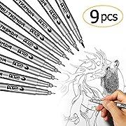 Fineliner Stifte, ikalula Pigment Liner Set Micro Pen Fineliner Stifte Tintenschreiber Lichtbeständig Pigmenttinte für Office-Dokumente, Artist Zeichnen, Künstler Illustration - Schwarz, 9 Stück