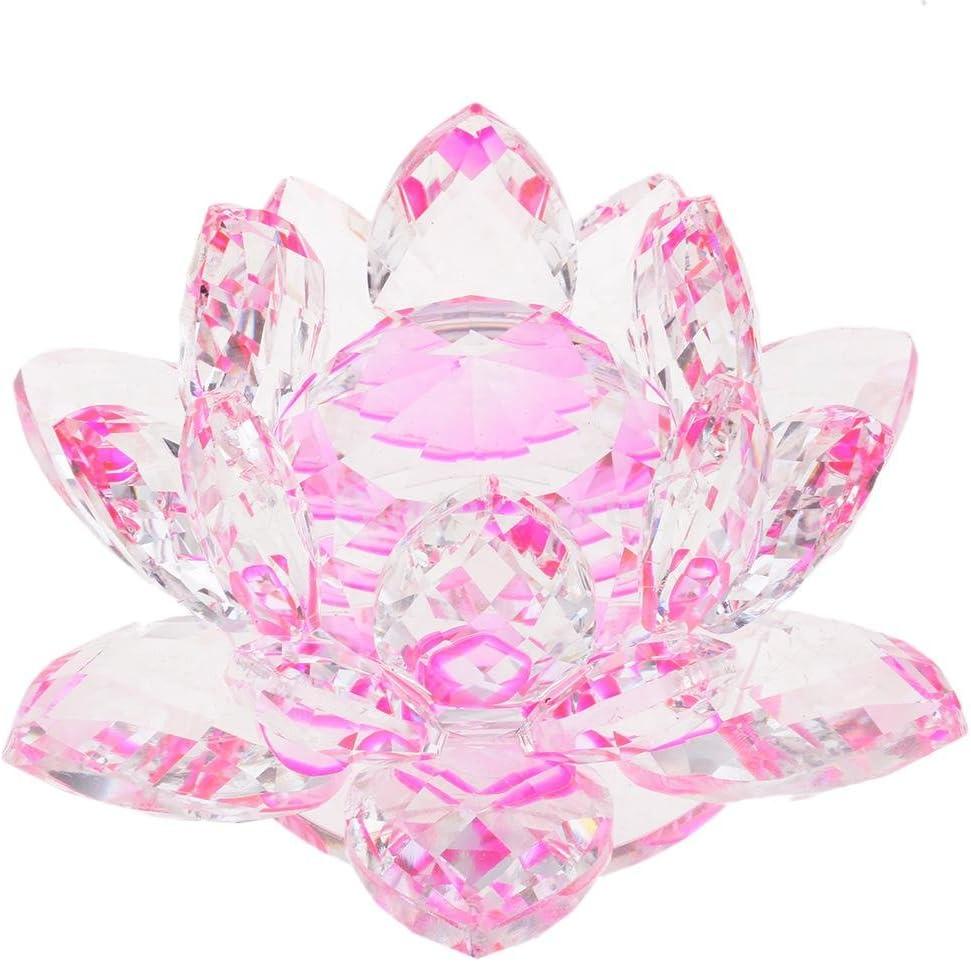 Multi PETSOLA Artesan/ía De Cristal Flor De Loto Figura Artesan/ías Decorativas De Mesa Decorativos
