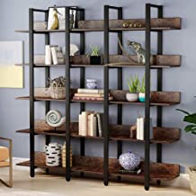 Best Tribesigns Rustic Triple Wide 5-Tiers Open Bookcase, Vintage Industrial Large 5 Shelf Bookshelf Furniture, Etagere Bookcases with Back Fence for Home Office Decor Display (Retro Brown) Review