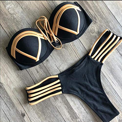 BENGKUI Bikini Bañadores Bañador Vendaje Brazilian Bikini Push Up Trajes De Baño Micro Bikinis Mujer Plus Size Trajes De Baño Trajes De Baño De Oro Brillante,XL
