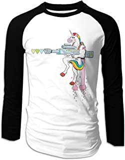 Eyscar Mens Logo of Unicorn Shooting Cotton Baseball Raglan Full T Shirts