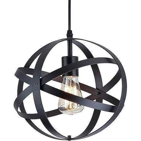 Lampe Suspension Industrielle Vintage E27 Métal Noir Lustre de Cuisine Suspension avec Câble Réglable 100CM Pour Escalier, Cuisine, Salon, Café, Hôtel