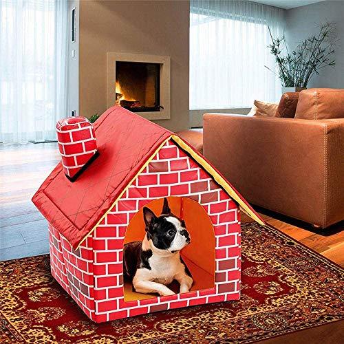 Casa de ladrillo para mascotas plegable cama con alfombra suave invierno perro cachorro sofá casa casero nido perro gato cama para perros pequeños WUTAO1
