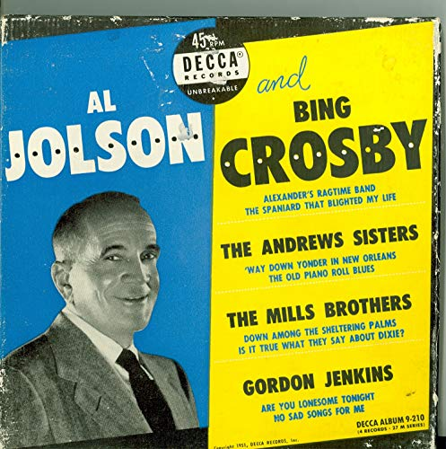 Various Artists - Original Box Set - 4 vinyl 45s, 8 Songs w/Alexander's Ragtime Band / | The Old Piano Roll Blues / Way Down Yonder in New Orleans plus 5 more - Al Jolson / Bing Crosby (Decca Records 1951) Near-Mint (7 out of 10)