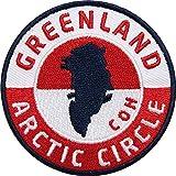 2 x Grönland Polarkreis Aufnäher gestickt 62 mm Rot / Dänemark Flagge Arktis Nordpol Expedition Klima Winter / Patch zum Aufnähen Aufbügeln Jacke Kleidung / Aufnäher Aufbügler Flicken Bügelflicken