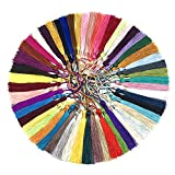 Miss Craft 120 Pieces 5inch Silk Floss Tassels with Hang Loops Mini Tassels Mala Tassel Kits for Bookmarks Earring Jewerly Making Belt Clothing Curtain Decorations (Multi)
